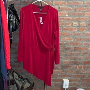 NWT Red 1X Faux Wrap Asymmetrical Blouse